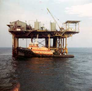 "Most barges--and the derrick barges themselves before they became self-propelled--were towed by ocean going tugboats. These workhorses were an essential part of any offshore construction operation, operating in all seasons and in all types of weather, fair and foul. In the Gulf of Mexico, construction generally tapered off during the winter months due to the winter storms from onshore. The North Sea had an even more restrictive construction season, which led to a ""quantum leap"" of offshore technology of its own."