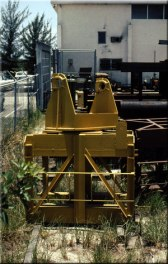 """The """"universal saddle adapter,"""" to mate the fixed leaders to the crane boom. Note the ladder on the sides of the leaders are made of rebar, to create a skid-resistant rung."""