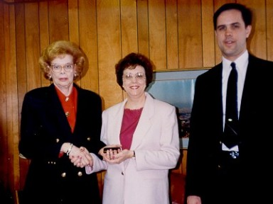 Vulcan's Chattanooga facilty was staffed by a loyal and consistent workforce. In this photo Chairman V.S. Warrington (left) and Vice Chairman D.C. Warrington (right) present a service award to bookkeeper Linda Grant in the early 1990's. Linda went on to work for the Tennessee Corporation after they acquired Vulcan in 1996, and for Vulcan Foundation Equipment after they acquired the product line in 2001. Her days at Vulcan only ended when VFE left Chattanooga altogether in 2005.