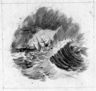 Lost at sea in storm.