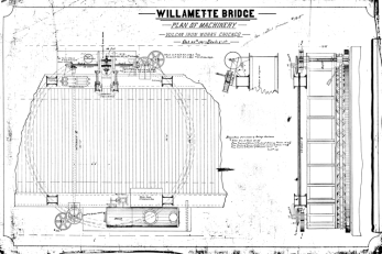 Plan of Machinery for the Willamette Bridge, probably the Morrison Street bridge, dated 20 October 1887.
