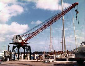 """The """"Yacht Yard Crane,"""" built for and installed at Rybovich and Sons Boat Works in West Palm Beach, Florida. Yachting was an active pursuit of the Warrington family, so building a crane continued a long tradition."""