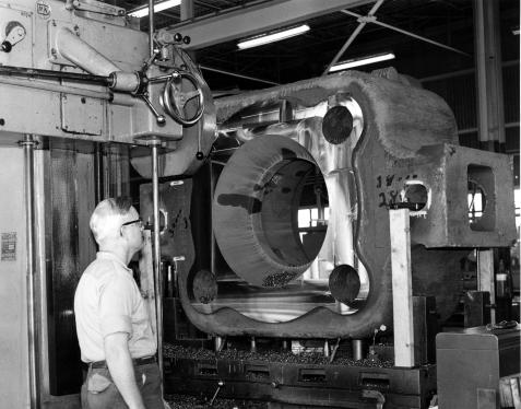 One of Vulcan's horizontal boring mills machining an offshore hammer base. Vulcan's boring mill capabilities were key to its ability to manufacture these hammers, as they were scarce, even in a country with the industrial capabilities the U.S. had at the time.