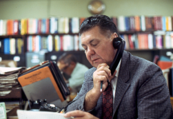 On the phone with the customer: Herman Hasenkampf worked for Woodard Wight of New Orleans until 1977 (this photo dates from 1973), when Vulcan hired him directly. He sold a higher dollar volume of Vulcan hammers than any other individual in the history of the product line (click here for an example of the hammers he sold.) A patient relationship builder, he knew everyone in the organisations he called on, from the Chairman of the Board to the stockroom clerk. His knowledge of the product was as thorough as his relationship with his customer.