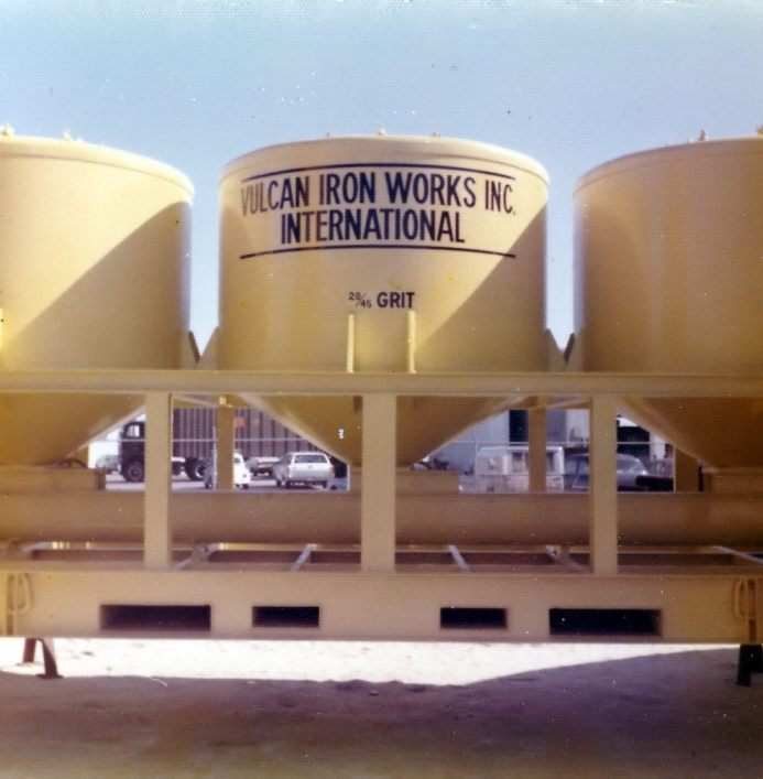 """The sand hopper, necessary for sand blasting operations. Emblazoned with """"Vulcan Iron Works Inc. International"""" may seem pretentious, but South Florida is at the edge of the United States in every sense of the word."""