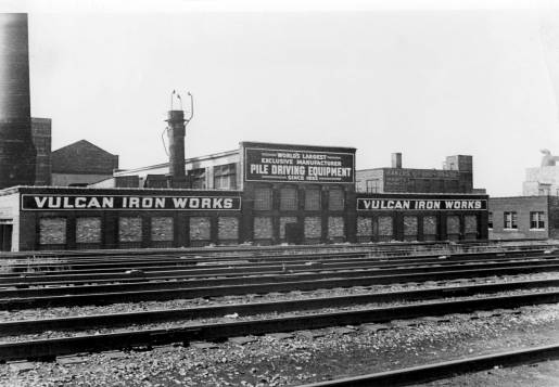 A front view from the railroad yard of Vulcan's facility at 327 North Bell Ave.