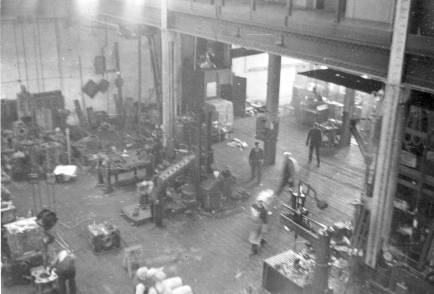 """Looking down on the shop floor at the 327 North Bell Avenue facility. In the upper right hand corner one can see the """"mezzanine"""" behind which were Vulcan's offices, upstairs."""