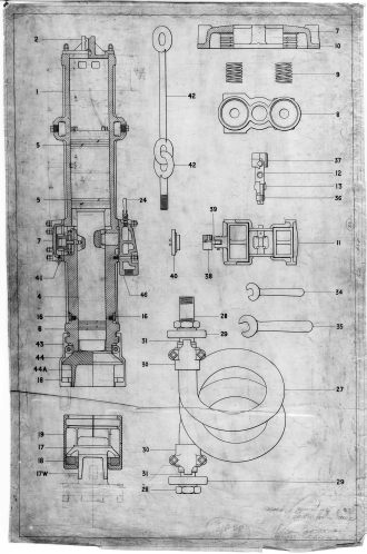 "Parts diagram for the California ""E"" and ""F"" hammers. The lubricator was mounted on the right side of the hammer."