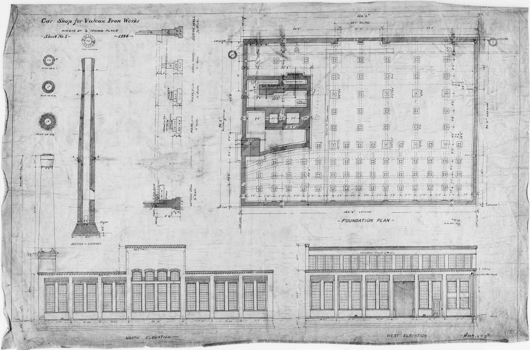 "The earliest extant plan for the 327 North Bell facility, ""Car Shop for Vulcan Iron Works,"" dated 1894. It states the address as ""Kinzie St. & Irving Avenue."" Kinzie Street runs along the north edge of the rail yard that forms the north border of the property; the facility never really gets that bar. Irving Avenue is what the street it faced was called until it was renamed."