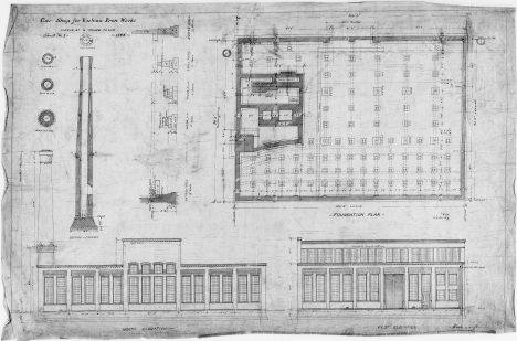 """The earliest extant plan for the 327 North Bell facility, """"Car Shop for Vulcan Iron Works,"""" dated 1894. It states the address as """"Kinzie St. & Irving Avenue."""" Kinzie Street runs along the north edge of the rail yard that forms the north border of the property; the facility never really gets that bar. Irving Avenue is what the street it faced was called until it was renamed."""
