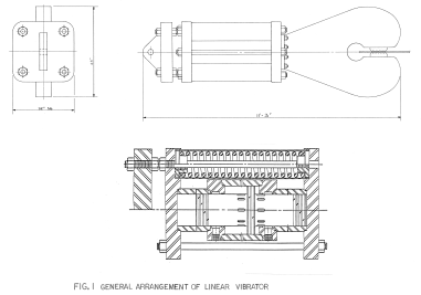 The actual general arrangement of the Linear Vibrator, showing its suspension system and clamp.
