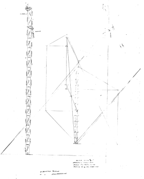 "Although it's hard to read, a ""stress and force"" diagram for leaders. The analysis of statics was well established in engineering education and practice by the last half of the nineteenth century and is employed in this case on pile hammer leaders. In this case the leaders are being analysed using a truss type of model and a graphical solution to the static equilibrium equations. Truss models are, strictly speaking, inapplicable to leaders, because the joints are not pinned, but can be a reasonable approximation. The labour of calculations pushed the industry towards a more ""section modulus"" approach (which has limitations of its own) but the best solution to date has been finite element analysis, which will be discussed below."