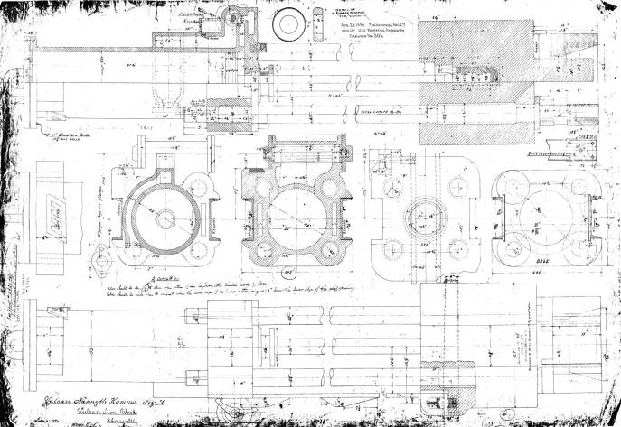 A general arrangement from 1891, probably the first extant of the #1. As was typically the case, many details were included to allow the Clinton St. factory to make it from this and a few other drawings.
