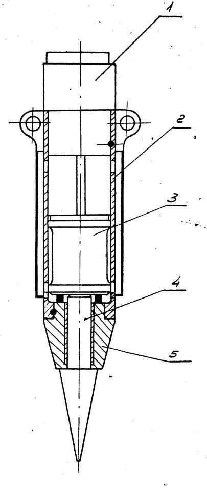 Figure 1 Hydraulic Hammer 1) Working Cylinder 2) Guide Pipe 3) Ram 4) Interchangeable Tool 5) Interchangeable Tool Guide (axle box)
