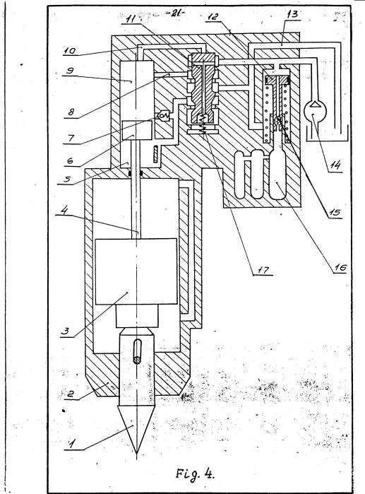 Figure 4 Operating Principle of Hydraulic Hammer -- Beginning of Cycle, Ram in Bottom Position 1) Impact Tool 2) Body 3) Ram 4) Rod 5) Rod End Cavity 6) Piston 7) Check Valve 8) Drain Port 9) Head End Cavity 10) Duct 11) Control Valve 12) Accumulator Piston 13) Drain Line 14) Pump 15) Fluid Spring Cavity 17) Spring