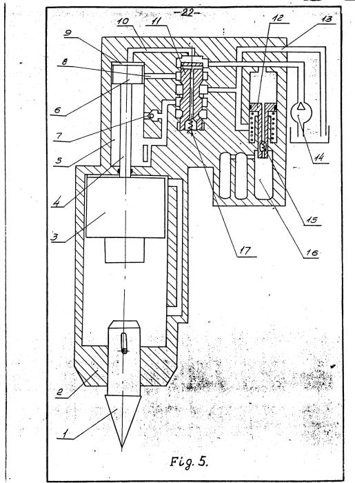 Figure 5 Operating Principle of Hydraulic Hammer -- End of Upward Acceleration 1) Impact Tool 2) Body 3) Ram 4) Rod 5) Rod End Cavity 6) Piston 7) Check Valve 8) Drain Port 9) Head End Cavity 10) Duct 11) Control Valve 12) Accumulator Piston 13) Drain Line 14) Pump 15) Fluid Spring Cavity 17) Spring