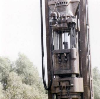 The 040 in action installing the cylinder piles for the I-10 between Lafayette and Breaux Bridge, LA, 1969.