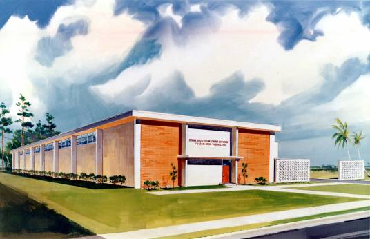 """Artist's conception of the Special Products Division plant before it was built. It was called the """"Stone Drilling Machine Division"""" because Vulcan had acquired a manufacturer of water well drills and was planning to move the production to the new facility."""