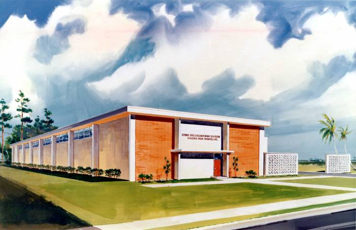 "Artist's conception of the Special Products Division plant before it was built. It was called the ""Stone Drilling Machine Division"" because Vulcan had acquired a manufacturer of water well drills and was planning to move the production to the new facility."