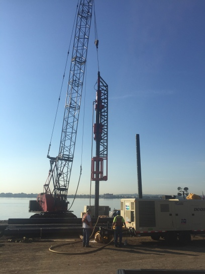 Vulcan 5' stroke hammer driving piles for the Port Authority of New York and New Jersey, using a stub/offshore type of leader. Photo courtesy of Pile Hammer Equipment.