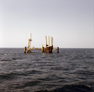 An incomplete jacked without the topsides, Gulf of Mexico, November 1966.